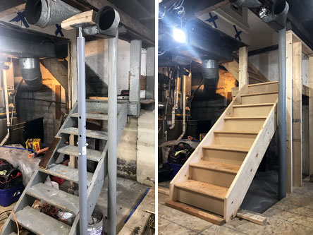 The old stairs and the new stairs being installed with new landing